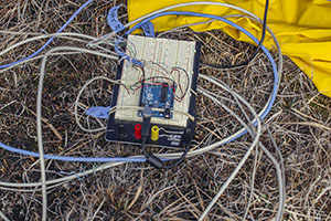 Faculty and students collaborate to build micro-climate sensors for aviary research.